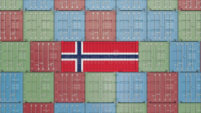 Εμπορευματοκιβώτιο με τη σημαία της Νορβηγίας Η νορβηγική εισαγωγή ή η εξαγωγή αφορούσε την τρισδιάστατη απόδοση διανυσματική απεικόνιση