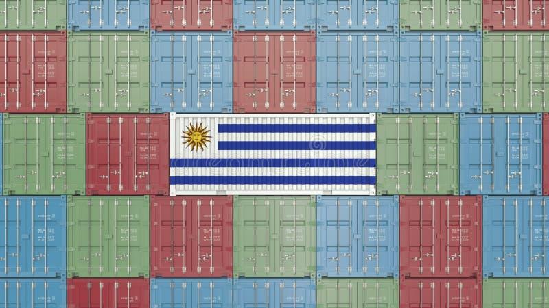 Εμπορευματοκιβώτιο με τη σημαία της Ουρουγουάης Η εισαγωγή ή η εξαγωγή Ουρουγουανών αφορούσε την τρισδιάστατη απόδοση διανυσματική απεικόνιση