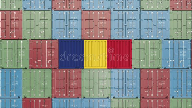 Εμπορευματοκιβώτιο με τη σημαία της Ρουμανίας Η ρουμανική εισαγωγή ή η εξαγωγή αφορούσε την τρισδιάστατη απόδοση ελεύθερη απεικόνιση δικαιώματος
