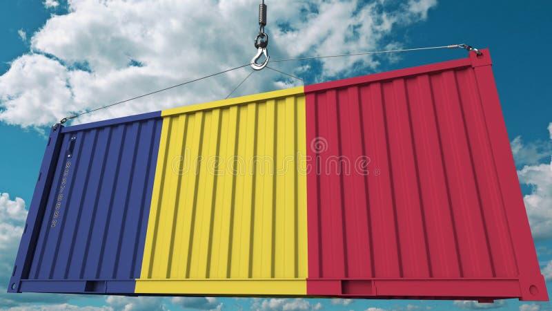 Εμπορευματοκιβώτιο με τη σημαία της Ρουμανίας Η ρουμανική εισαγωγή ή η εξαγωγή αφορούσε την εννοιολογική τρισδιάστατη απόδοση απεικόνιση αποθεμάτων