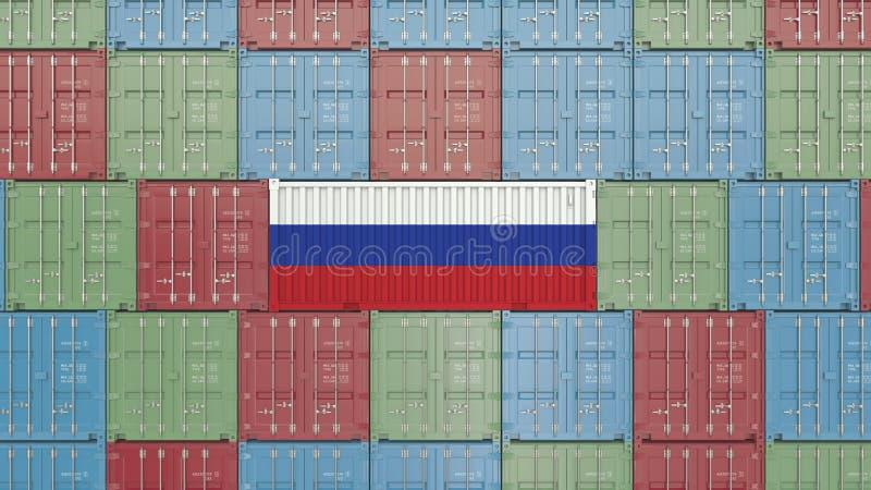 Εμπορευματοκιβώτιο με τη σημαία της Ρωσίας Η ρωσική εισαγωγή ή η εξαγωγή αφορούσε την τρισδιάστατη απόδοση ελεύθερη απεικόνιση δικαιώματος
