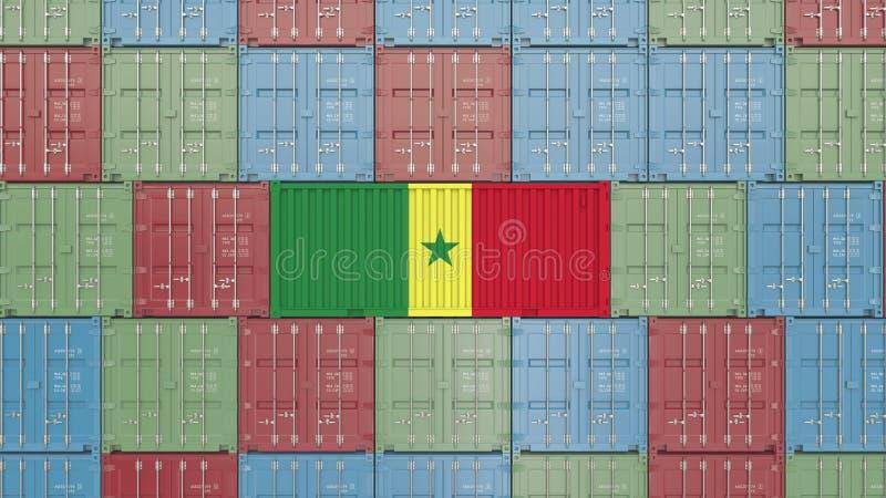 Εμπορευματοκιβώτιο με τη σημαία της Σενεγάλης Η σενεγαλέζικη εξαγωγή αφορούσε την τρισδιάστατη απόδοση διανυσματική απεικόνιση