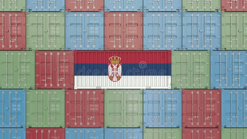 Εμπορευματοκιβώτιο με τη σημαία της Σερβίας Η σερβική εισαγωγή ή η εξαγωγή αφορούσε την τρισδιάστατη απόδοση διανυσματική απεικόνιση