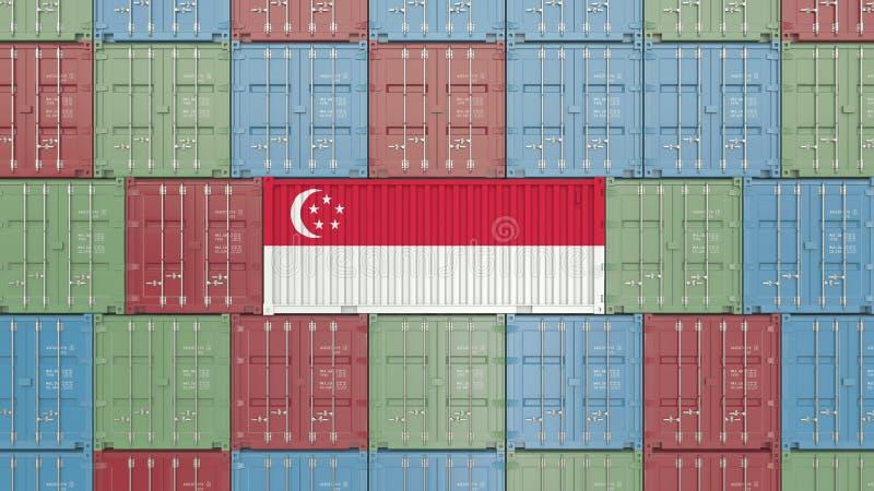 Εμπορευματοκιβώτιο με τη σημαία της Σιγκαπούρης Η σιγκαπούριος εισαγωγή ή η εξαγωγή αφορούσε την τρισδιάστατη απόδοση διανυσματική απεικόνιση