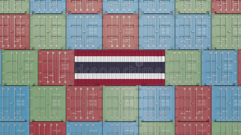 Εμπορευματοκιβώτιο με τη σημαία της Ταϊλάνδης Η ταϊλανδική εισαγωγή ή η εξαγωγή αφορούσε την τρισδιάστατη απόδοση διανυσματική απεικόνιση
