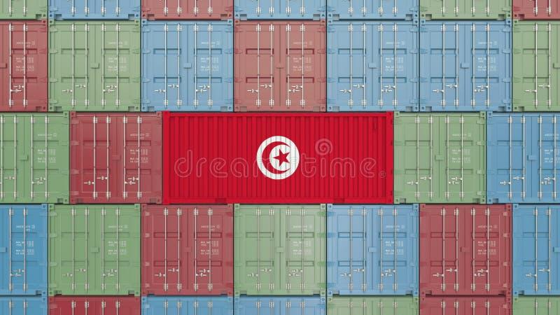 Εμπορευματοκιβώτιο με τη σημαία της Τυνησίας Η τυνησιακή εισαγωγή ή η εξαγωγή αφορούσε την τρισδιάστατη απόδοση ελεύθερη απεικόνιση δικαιώματος