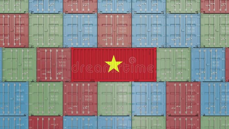 Εμπορευματοκιβώτιο με τη σημαία του Βιετνάμ Η βιετναμέζικη εισαγωγή ή η εξαγωγή αφορούσε την τρισδιάστατη απόδοση απεικόνιση αποθεμάτων