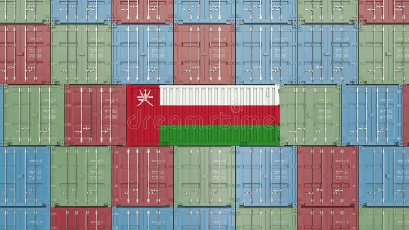 Εμπορευματοκιβώτιο με τη σημαία του Ομάν Η ομανική εισαγωγή ή η εξαγωγή αφορούσε την τρισδιάστατη απόδοση απεικόνιση αποθεμάτων