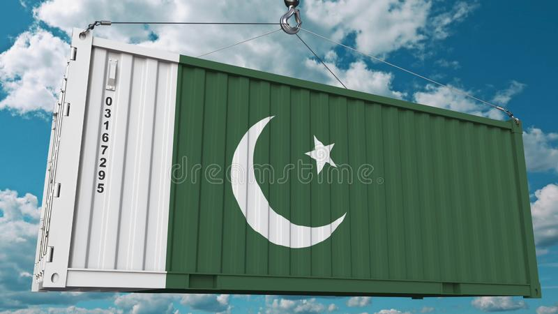 Εμπορευματοκιβώτιο με τη σημαία του Πακιστάν Η πακιστανική εισαγωγή ή η εξαγωγή αφορούσε την εννοιολογική τρισδιάστατη απόδοση ελεύθερη απεικόνιση δικαιώματος