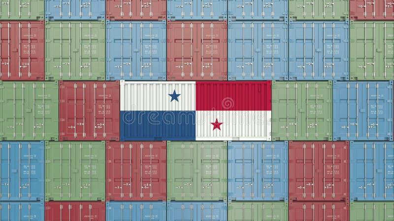 Εμπορευματοκιβώτιο με τη σημαία του Παναμά Η εισαγωγή ή η εξαγωγή Panamian αφορούσε την τρισδιάστατη απόδοση ελεύθερη απεικόνιση δικαιώματος