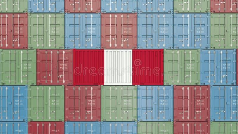 Εμπορευματοκιβώτιο με τη σημαία του Περού Η περουβιανή εισαγωγή ή η εξαγωγή αφορούσε την τρισδιάστατη απόδοση διανυσματική απεικόνιση