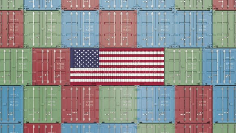 Εμπορευματοκιβώτιο με τη σημαία των Ηνωμένων Πολιτειών της Αμερικής Η αμερικανική εισαγωγή ή η εξαγωγή αφορούσε την τρισδιάστατη  απεικόνιση αποθεμάτων