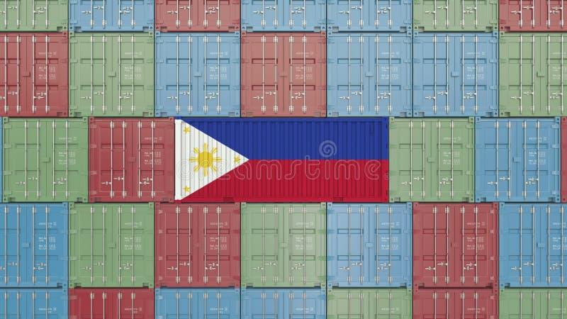 Εμπορευματοκιβώτιο με τη σημαία των Φιλιππινών Η εισαγωγή ή η εξαγωγή αφορούσε την τρισδιάστατη απόδοση απεικόνιση αποθεμάτων