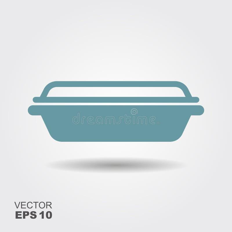 Εμπορευματοκιβώτιο τροφίμων γυαλιού Επίπεδο διανυσματικό εικονίδιο με τη σκιά διανυσματική απεικόνιση