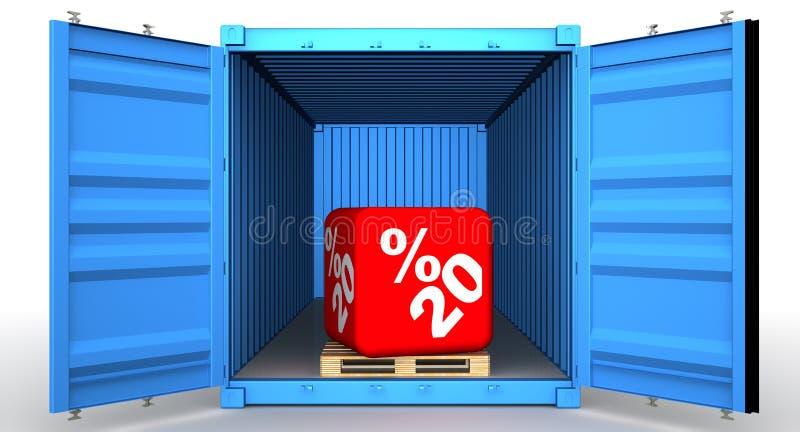 Εμπορευματοκιβώτιο φορτίου με την έκπτωση είκοσι ποσοστού απεικόνιση αποθεμάτων