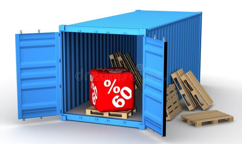 Εμπορευματοκιβώτιο φορτίου με την έκπτωση εξήντα ποσοστού διανυσματική απεικόνιση