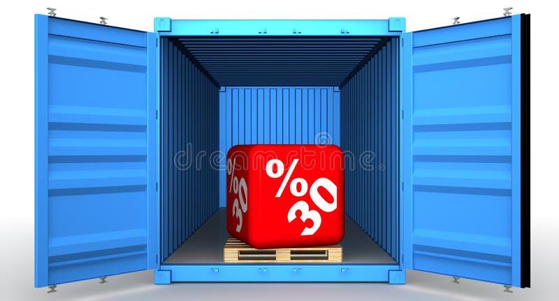 Εμπορευματοκιβώτιο φορτίου με την έκπτωση τριάντα ποσοστού διανυσματική απεικόνιση