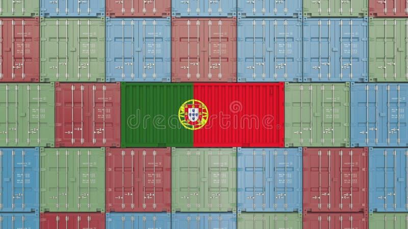 Εμπορευματοκιβώτιο φορτίου με τη σημαία της Πορτογαλίας Η πορτογαλική εισαγωγή ή η εξαγωγή αφορούσε την τρισδιάστατη απόδοση ελεύθερη απεικόνιση δικαιώματος