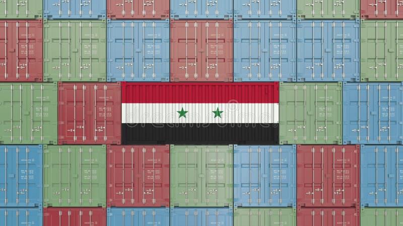 Εμπορευματοκιβώτιο φορτίου με τη σημαία της Συρίας Η συριακή εισαγωγή ή η εξαγωγή αφορούσε την τρισδιάστατη απόδοση διανυσματική απεικόνιση