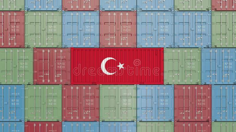 Εμπορευματοκιβώτιο φορτίου με τη σημαία της Τουρκίας Η τουρκική εισαγωγή ή η εξαγωγή αφορούσε την τρισδιάστατη απόδοση διανυσματική απεικόνιση