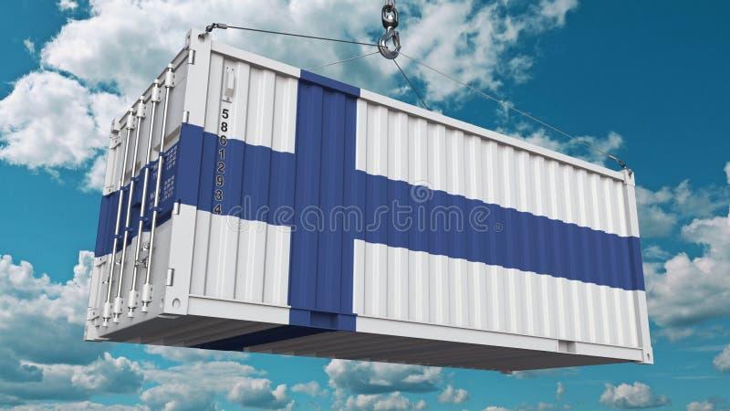Εμπορευματοκιβώτιο φορτίου με τη σημαία της Φινλανδίας Η φινλανδική εισαγωγή ή η εξαγωγή αφορούσε την εννοιολογική τρισδιάστατη α απεικόνιση αποθεμάτων