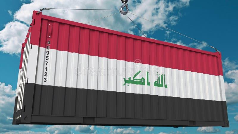 Εμπορευματοκιβώτιο φορτίου με τη σημαία του Ιράκ Η ιρακινή εισαγωγή ή η εξαγωγή αφορούσε την εννοιολογική τρισδιάστατη απόδοση διανυσματική απεικόνιση