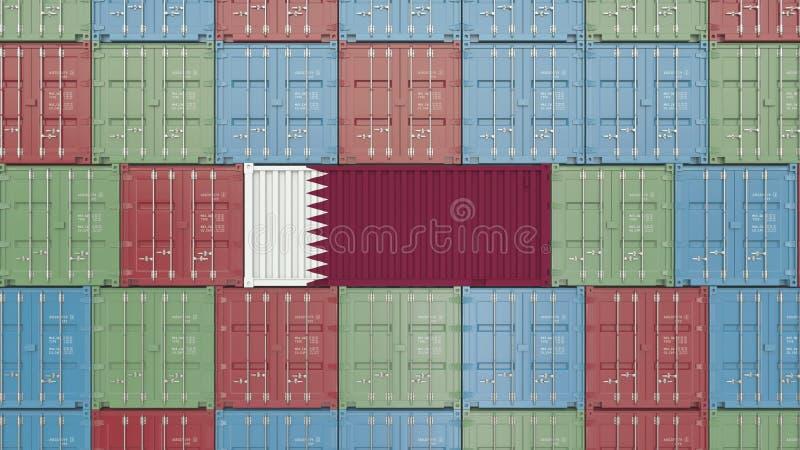 Εμπορευματοκιβώτιο φορτίου με τη σημαία του Κατάρ Η εισαγωγή ή η εξαγωγή Qatari αφορούσε την τρισδιάστατη απόδοση απεικόνιση αποθεμάτων