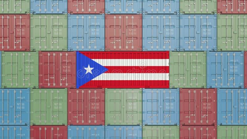 Εμπορευματοκιβώτιο φορτίου με τη σημαία του Πουέρτο Ρίκο Η εισαγωγή ή η εξαγωγή αφορούσε την τρισδιάστατη απόδοση διανυσματική απεικόνιση
