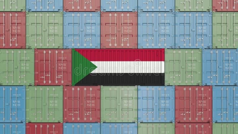 Εμπορευματοκιβώτιο φορτίου με τη σημαία του Σουδάν Η σουδανέζικη εισαγωγή ή η εξαγωγή αφορούσε την τρισδιάστατη απόδοση απεικόνιση αποθεμάτων