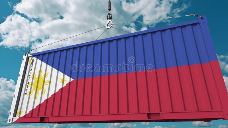 Εμπορευματοκιβώτιο φορτίου με τη σημαία των Φιλιππινών Η εισαγωγή ή η εξαγωγή αφορούσε την εννοιολογική τρισδιάστατη απόδοση διανυσματική απεικόνιση