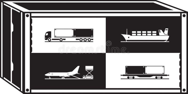 Εμπορευματοκιβώτιο φορτίου με τις διαφορετικές μεταφορές διανυσματική απεικόνιση