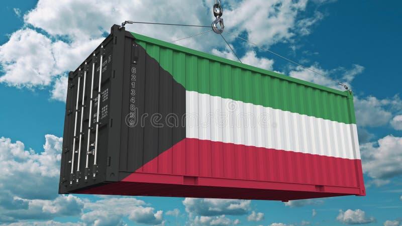 Εμπορευματοκιβώτιο φορτίου φόρτωσης με τη σημαία του Κουβέιτ Η από το Κουβέιτ εισαγωγή ή η εξαγωγή αφορούσε την εννοιολογική τρισ ελεύθερη απεικόνιση δικαιώματος