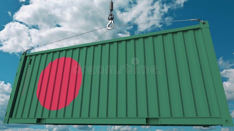 Εμπορευματοκιβώτιο φορτίου φόρτωσης με τη σημαία του Μπανγκλαντές Η του Μπαγκλαντές εισαγωγή ή η εξαγωγή αφορούσε την εννοιολογικ απεικόνιση αποθεμάτων