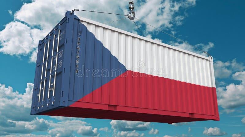 Εμπορευματοκιβώτιο φόρτωσης με τη σημαία του τσεχικού Rebublic Η εισαγωγή ή η εξαγωγή αφορούσε την εννοιολογική τρισδιάστατη απόδ απεικόνιση αποθεμάτων