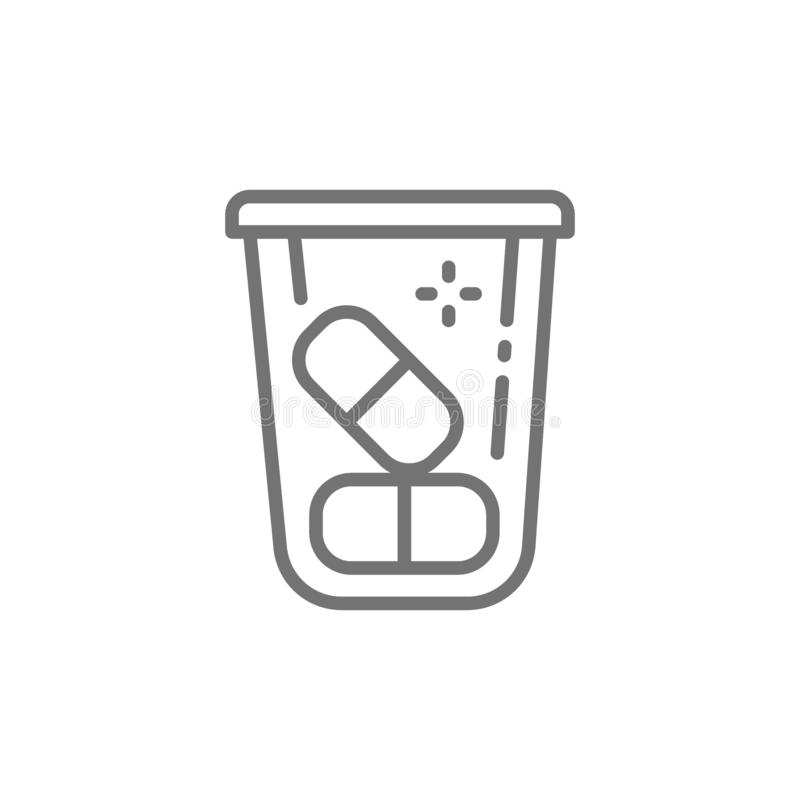 Εμπορευματοκιβώτιο χαπιών, φάρμακα, εικονίδιο γραμμών βιταμινών διανυσματική απεικόνιση