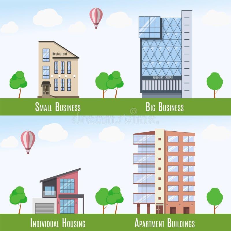 Εμπορικά και κατοικημένα σημάδια ακίνητων περιουσιών, σύνολο 4 κτηρίων επίσης corel σύρετε το διάνυσμα απεικόνισης απεικόνιση αποθεμάτων