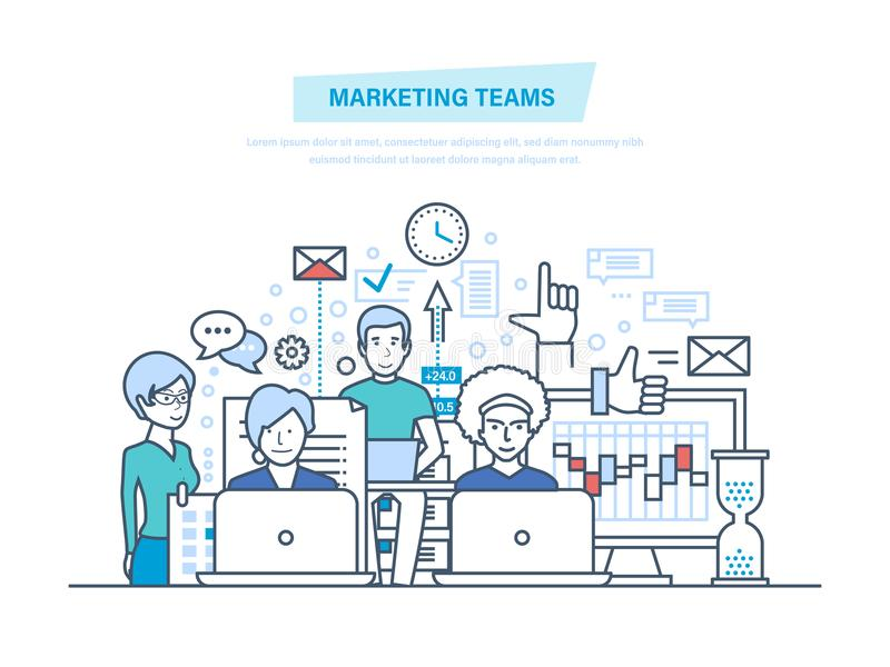 Εμπορικές ομάδες Εταιρικοί άνθρωποι επιχειρηματικών μονάδων, δημιουργική ομάδα, συνεργασίες, ομαδική εργασία διανυσματική απεικόνιση