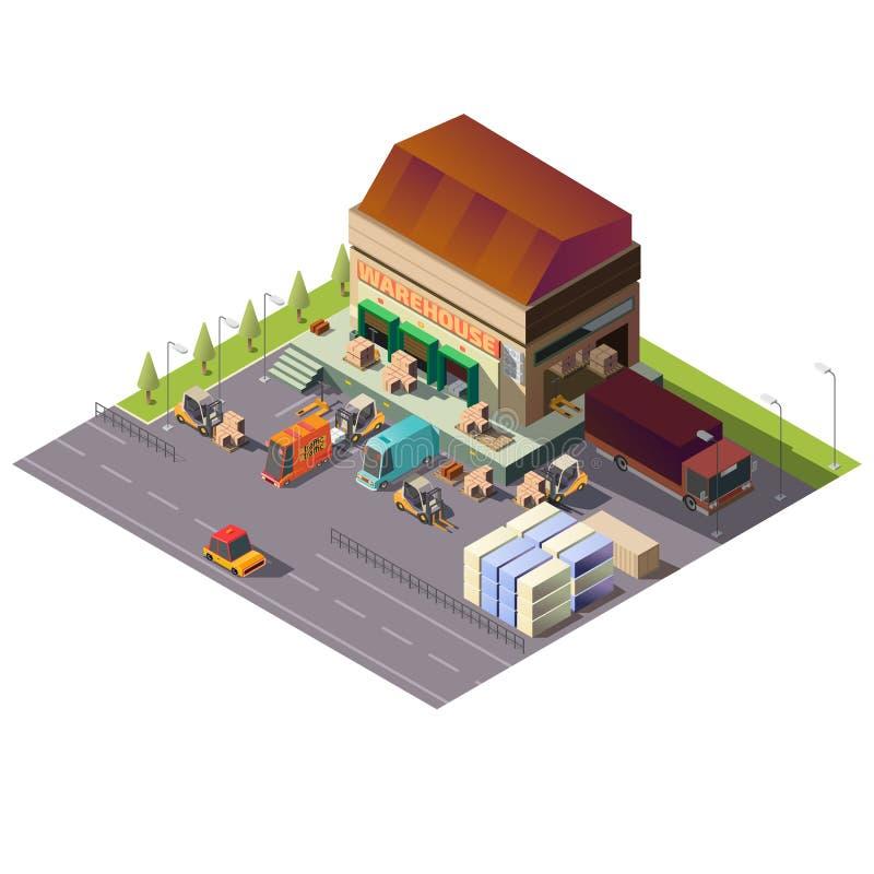 """Εμπορική αποθήκη εμπορευμάτων που χτίζει Ï""""Î¿ isometric διάνυσμα ελεύθερη απεικόνιση δικαιώματος"""