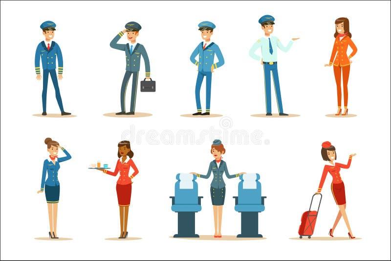 Εμπορική συλλογή πληρώματος πινάκων πτήσης των επαγγελματιών εναέριων μεταφορών που εργάζονται στο αεροπλάνο, αεροσυνοδοί και διανυσματική απεικόνιση