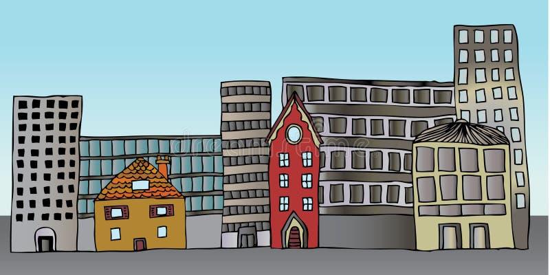 εμπορικός κατοικημένος κτηρίων ελεύθερη απεικόνιση δικαιώματος