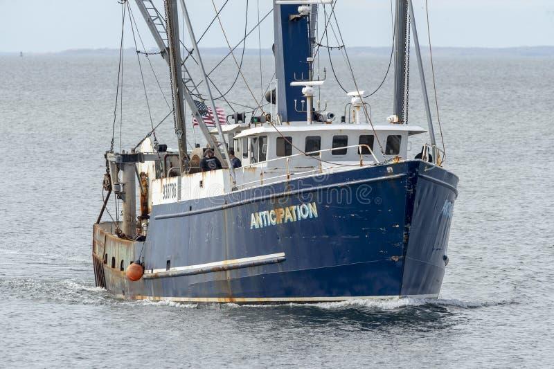 Εμπορικός τίτλος αναμονής αλιευτικών σκαφών για το Νιού Μπέντφορτ στοκ εικόνα
