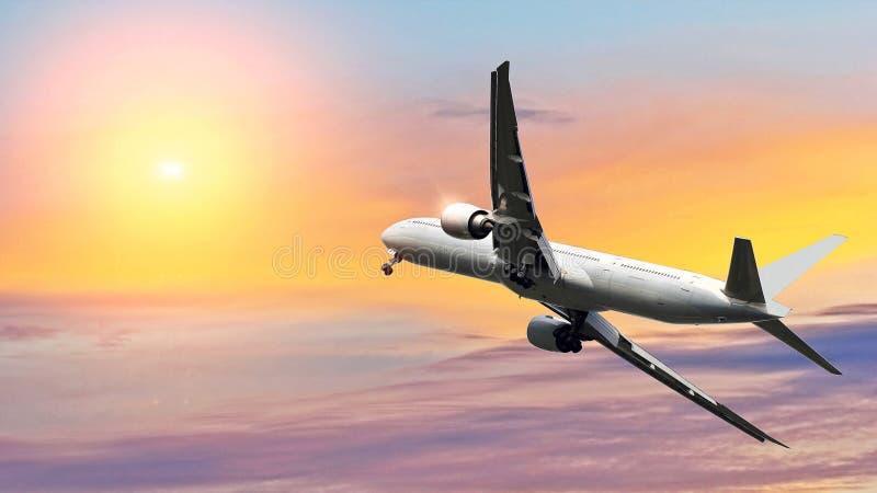 Εμπορικό αεροπλάνο που πετά επάνω από τον όμορφο ουρανό στο δραματικό φως του ήλιου Έννοια ταξιδιού και μεταφορών στοκ φωτογραφία με δικαίωμα ελεύθερης χρήσης