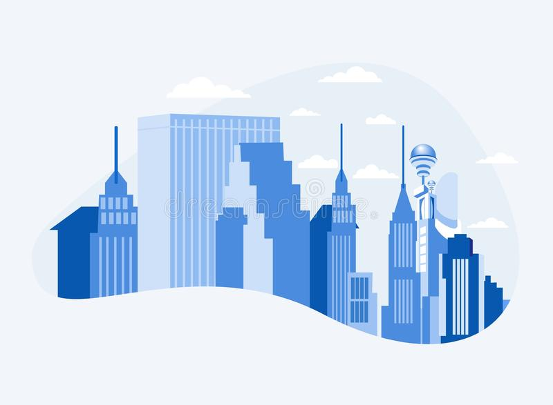 Εμπορικό κέντρο πόλεων κεντρικός με τους ουρανοξύστες ελεύθερη απεικόνιση δικαιώματος