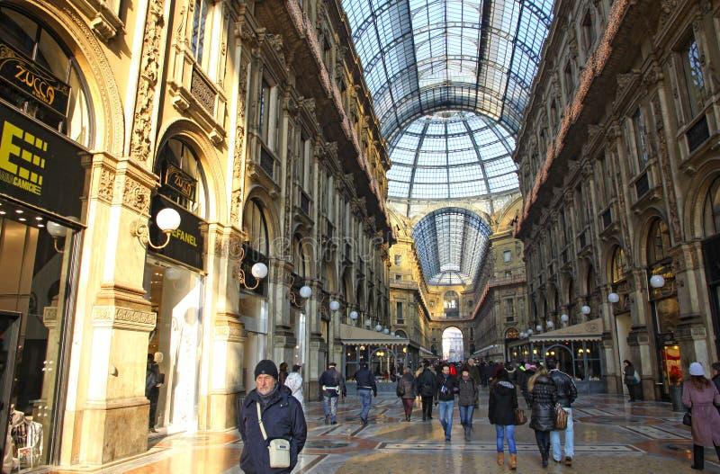 Εμπορικό κέντρο Vittorio Emanuele Galleria στο Μιλάνο στοκ εικόνα