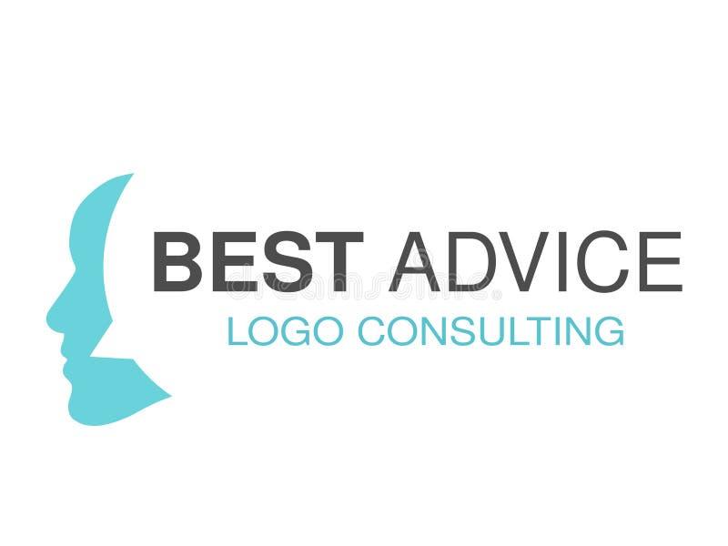 Εμπορικό σήμα για τη διαβούλευση της αντιπροσωπείας, καλύτερες συμβουλές Σχέδιο λογότυπων με το σύμβολο της λεκτικής φυσαλίδας κα διανυσματική απεικόνιση