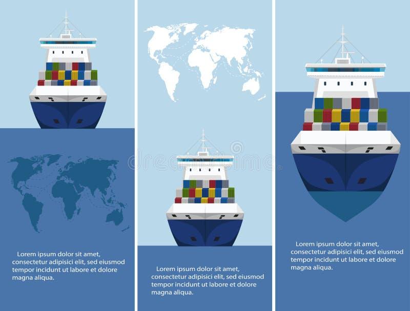 Εμπορικό σύνολο προτύπων ιπτάμενων ναυτιλίας θάλασσας ελεύθερη απεικόνιση δικαιώματος