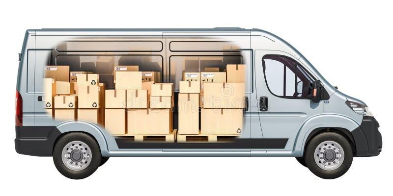 Εμπορικό φορτηγό παράδοσης με τα δέματα, κουτιά από χαρτόνι μέσα FR απεικόνιση αποθεμάτων