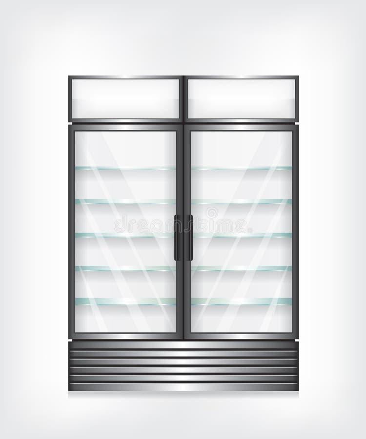 Εμπορικό ψυγείο με τα δίπορτα και ράφια γυαλιού διανυσματική απεικόνιση