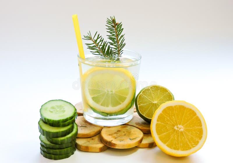 Εμποτισμένο detox νερό με το αγγούρι και το λεμόνι Τοπ όψη στοκ φωτογραφίες