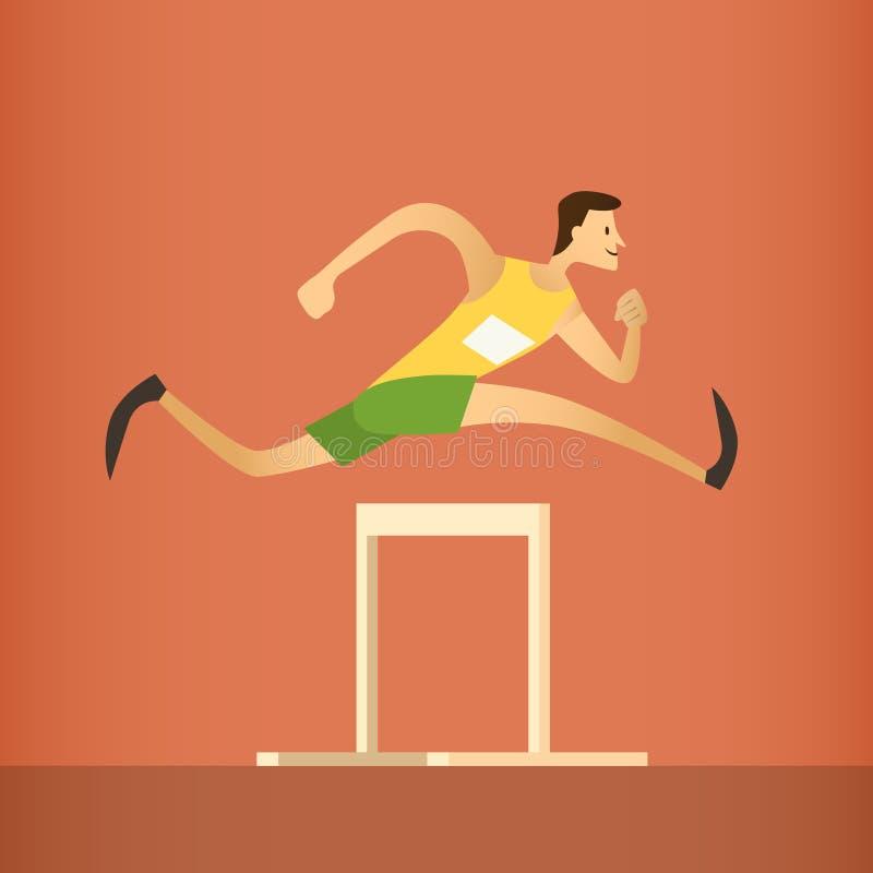 Εμποδίων αθλητικός ανταγωνισμός αθλητών αγώνων τρέχοντας απεικόνιση αποθεμάτων